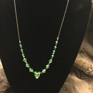 Sterling Silver Green Crystal Necklace Stamped 925